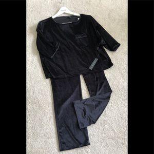 Tahari lounge pajamas, black velour, size XS